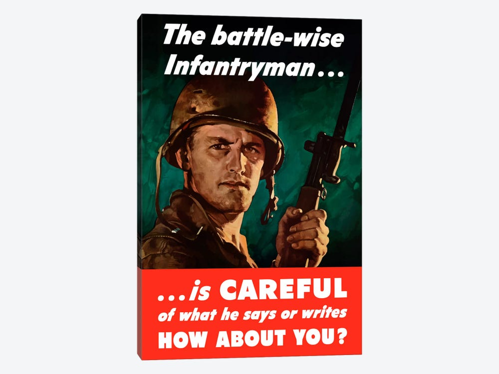 The Battle-Wise Infantryman Is Careful Vintage Wartime Poster by John Parrot 1-piece Canvas Art Print