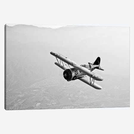 A Grumman F3F Biplane In Flight Canvas Print #TRK470} by Scott Germain Canvas Wall Art