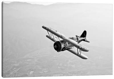 A Grumman F3F Biplane In Flight Canvas Art Print