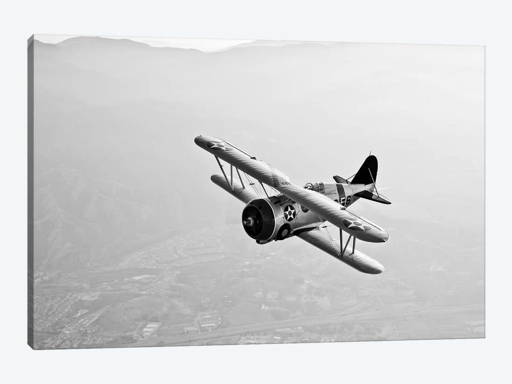 A Grumman F3F Biplane In Flight by Scott Germain 1-piece Art Print