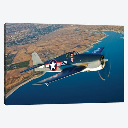 A Grumman F6F Hellcat Fighter Plane In Flight Canvas Print #TRK471} by Scott Germain Canvas Wall Art
