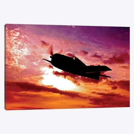 A Grumman F6F Hellcat Fighter Plane In Flight I Canvas Print #TRK472} by Scott Germain Canvas Art