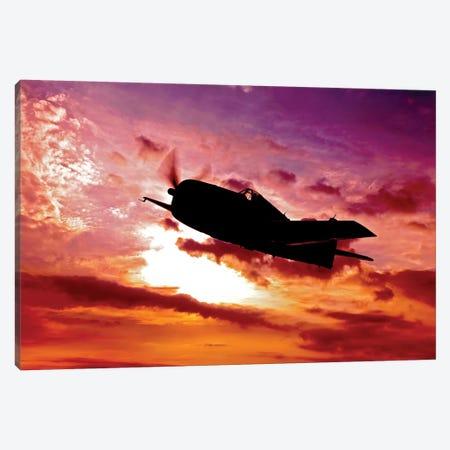 A Grumman F6F Hellcat Fighter Plane In Flight I Canvas Print #TRK472} by Scott Germain Canvas Art