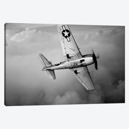 A Grumman F6F Hellcat Fighter Plane In Flight II Canvas Print #TRK473} by Scott Germain Canvas Artwork