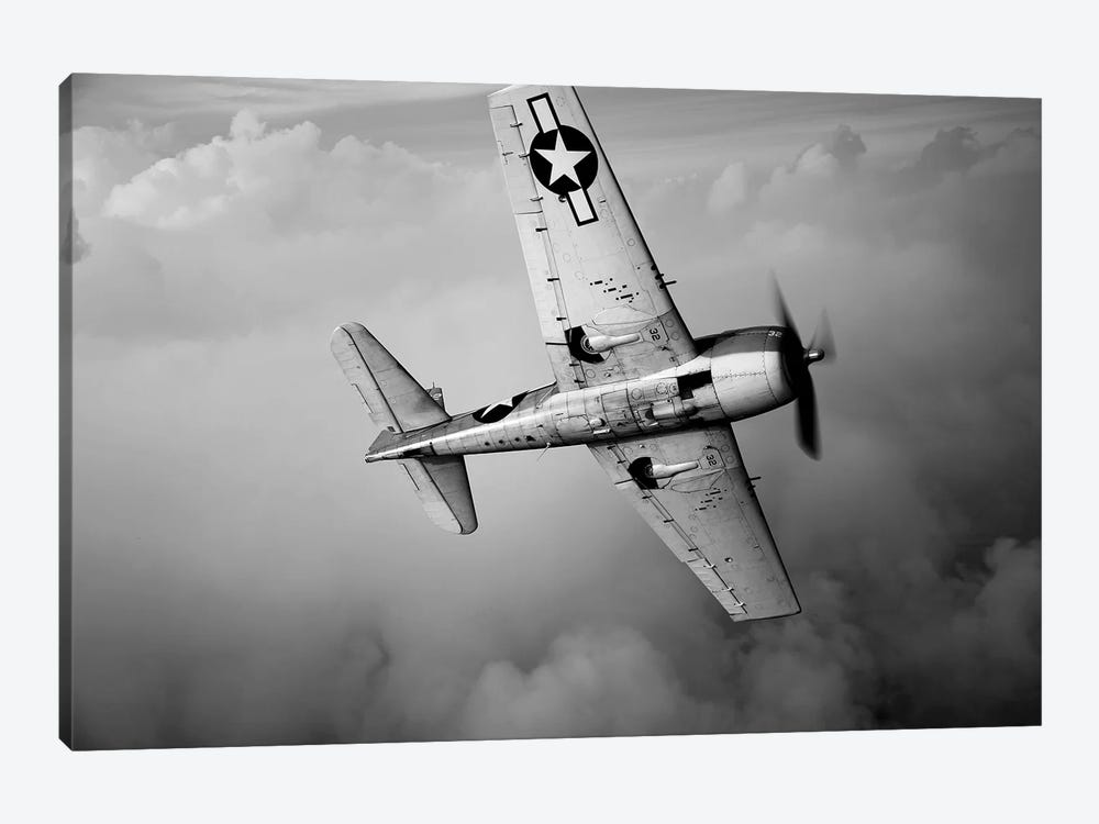 A Grumman F6F Hellcat Fighter Plane In Flight II by Scott Germain 1-piece Canvas Wall Art