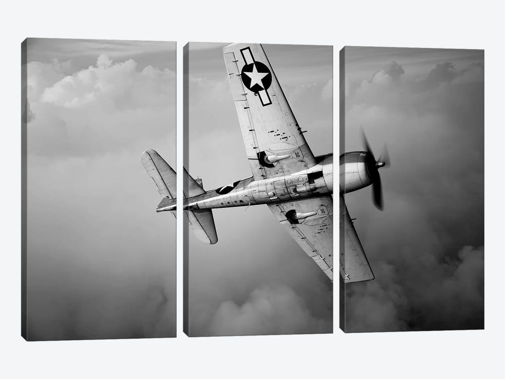 A Grumman F6F Hellcat Fighter Plane In Flight II by Scott Germain 3-piece Canvas Artwork