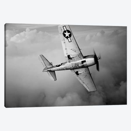 A Grumman F6F Hellcat Fighter Plane In Flight II Canvas Print #TRK473} by Scott Germain Canvas Artwork