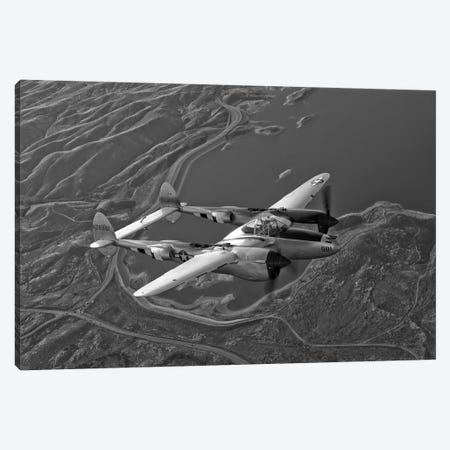 A Lockheed P-38 Lightning Fighter Aircraft In Flight I Canvas Print #TRK478} by Scott Germain Canvas Artwork