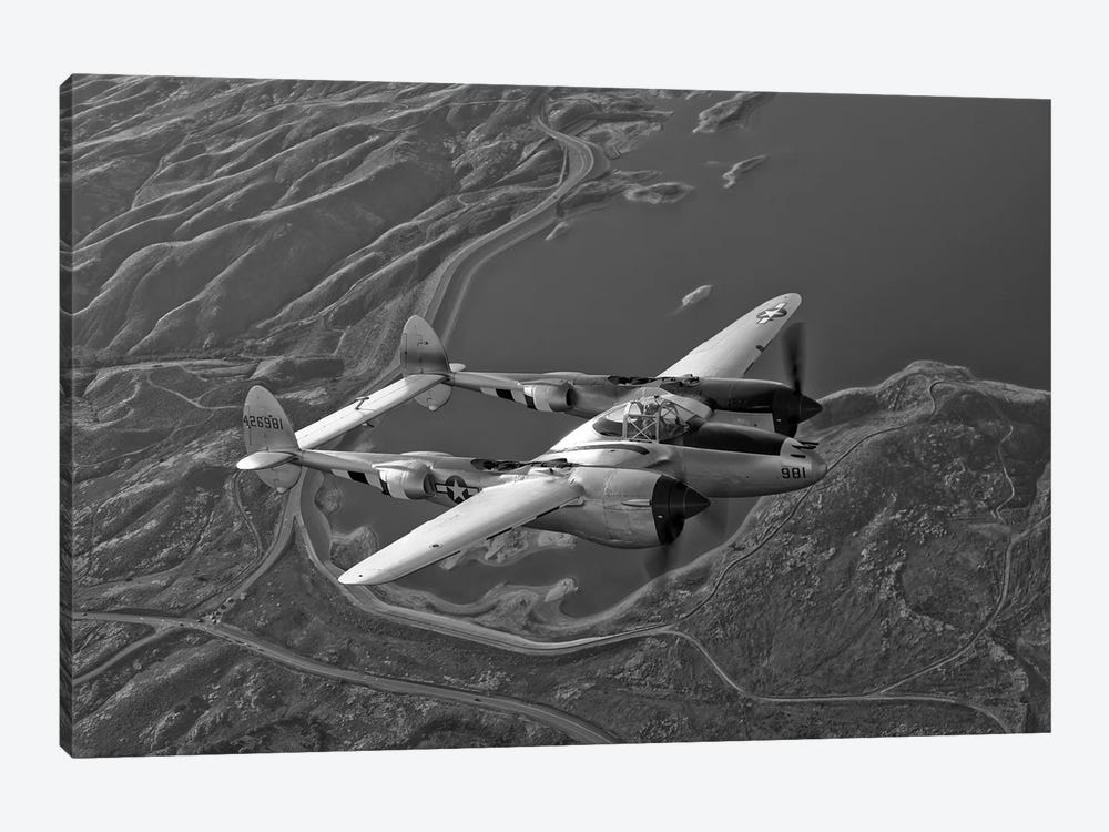 A Lockheed P-38 Lightning Fighter Aircraft In Flight I by Scott Germain 1-piece Canvas Print