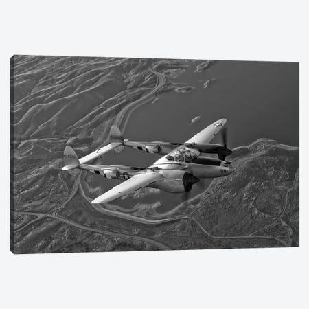 A Lockheed P-38 Lightning Fighter Aircraft In Flight I Canvas Print #TRK478} by Scott Germain Canvas Artwork