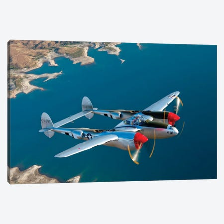 A Lockheed P-38 Lightning Fighter Aircraft In Flight II Canvas Print #TRK479} by Scott Germain Canvas Art