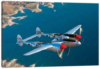 A Lockheed P-38 Lightning Fighter Aircraft In Flight II Canvas Art Print