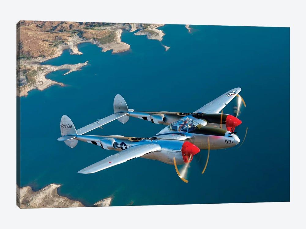 A Lockheed P-38 Lightning Fighter Aircraft In Flight II by Scott Germain 1-piece Canvas Art