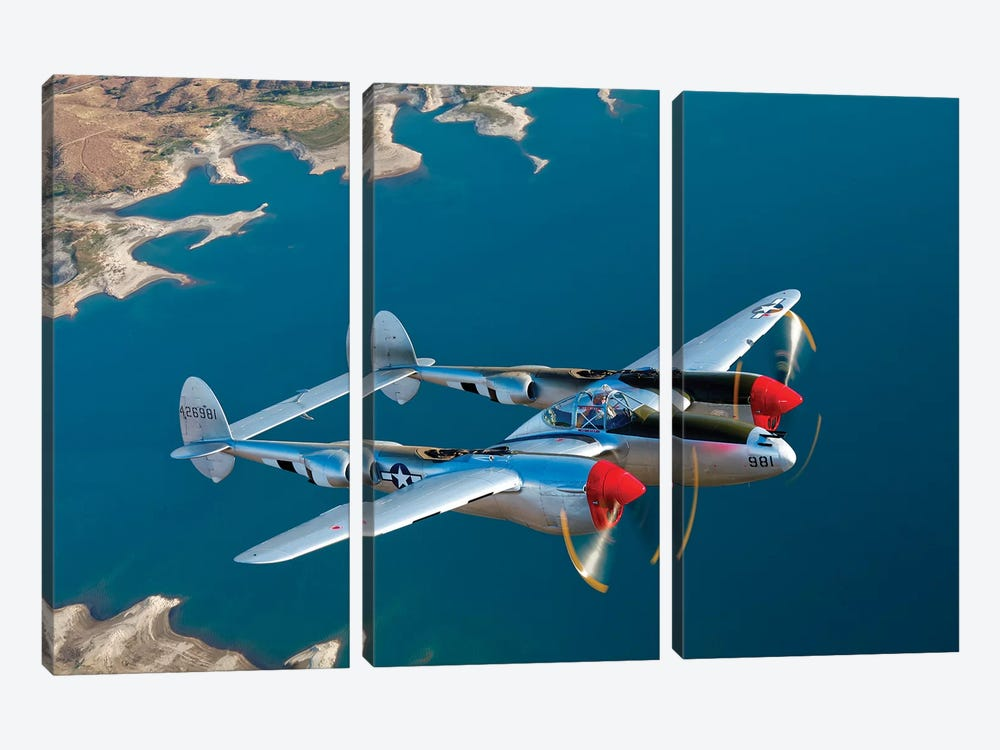 A Lockheed P-38 Lightning Fighter Aircraft In Flight II by Scott Germain 3-piece Canvas Art