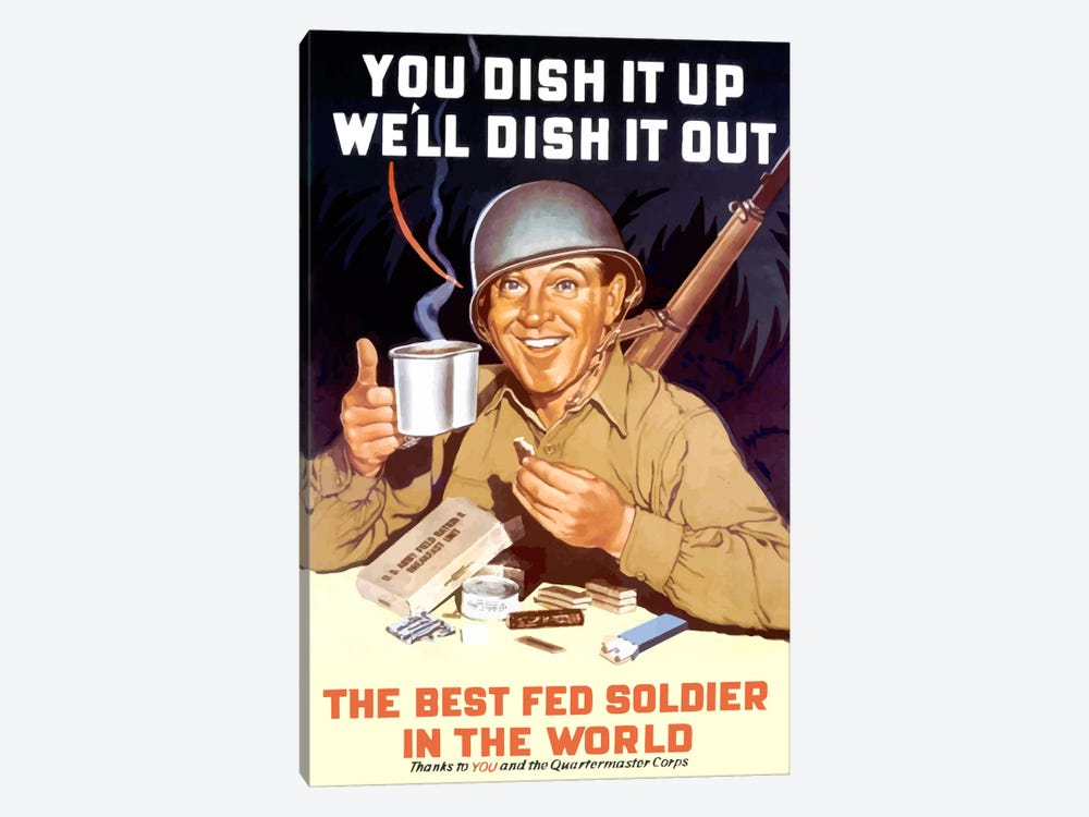 The Best Fed Soldier In The World Vintage Wartime Poster by John Parrot 1-piece Canvas Wall Art