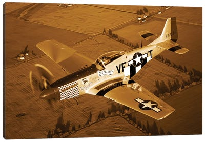 A North American P-51D Mustang In Flight Canvas Art Print