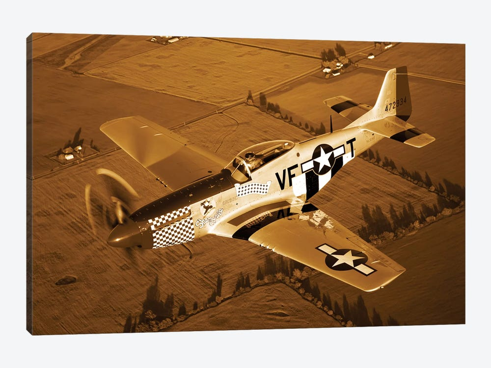 A North American P-51D Mustang In Flight 1-piece Canvas Artwork