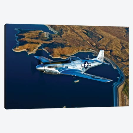 A North American P-51D Mustang In Flight Near Chino, California I Canvas Print #TRK481} by Scott Germain Art Print