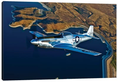 A North American P-51D Mustang In Flight Near Chino, California I Canvas Art Print
