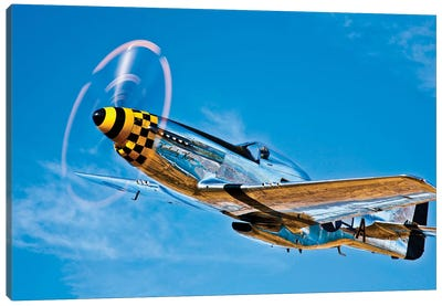 A North American P-51D Mustang In Flight Near Chino, California II Canvas Art Print