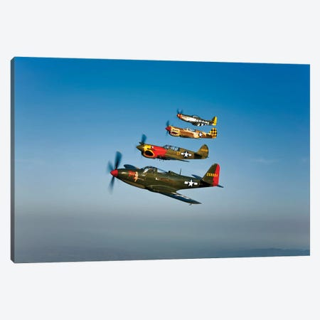 A P-36 Kingcobra, Two Curtiss P-40N Warhawks, And A P-51D Mustang In Flight Canvas Print #TRK483} by Scott Germain Canvas Art Print