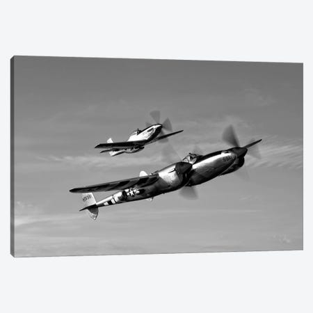 A P-38 Lightning And P-51D Mustang In Flight Canvas Print #TRK484} by Scott Germain Canvas Wall Art