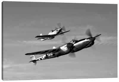 A P-38 Lightning And P-51D Mustang In Flight Canvas Art Print