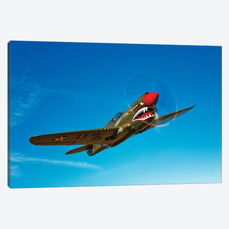 A P-40E Warhawk In Flight I Canvas Print #TRK485} by Scott Germain Canvas Wall Art