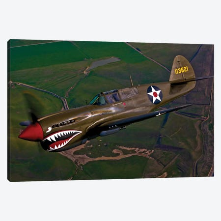 A P-40E Warhawk In Flight II Canvas Print #TRK486} by Scott Germain Canvas Art