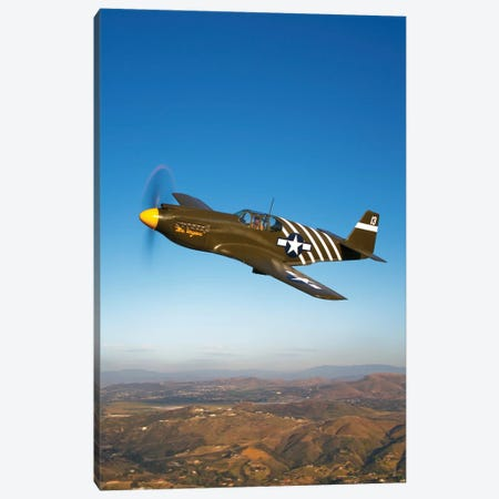 A P-51A Mustang In Flight II Canvas Print #TRK488} by Scott Germain Art Print