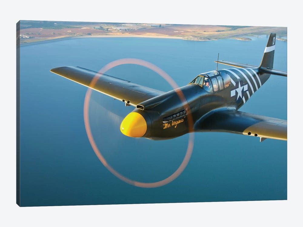 A P-51A Mustang In Flight III by Scott Germain 1-piece Canvas Art Print