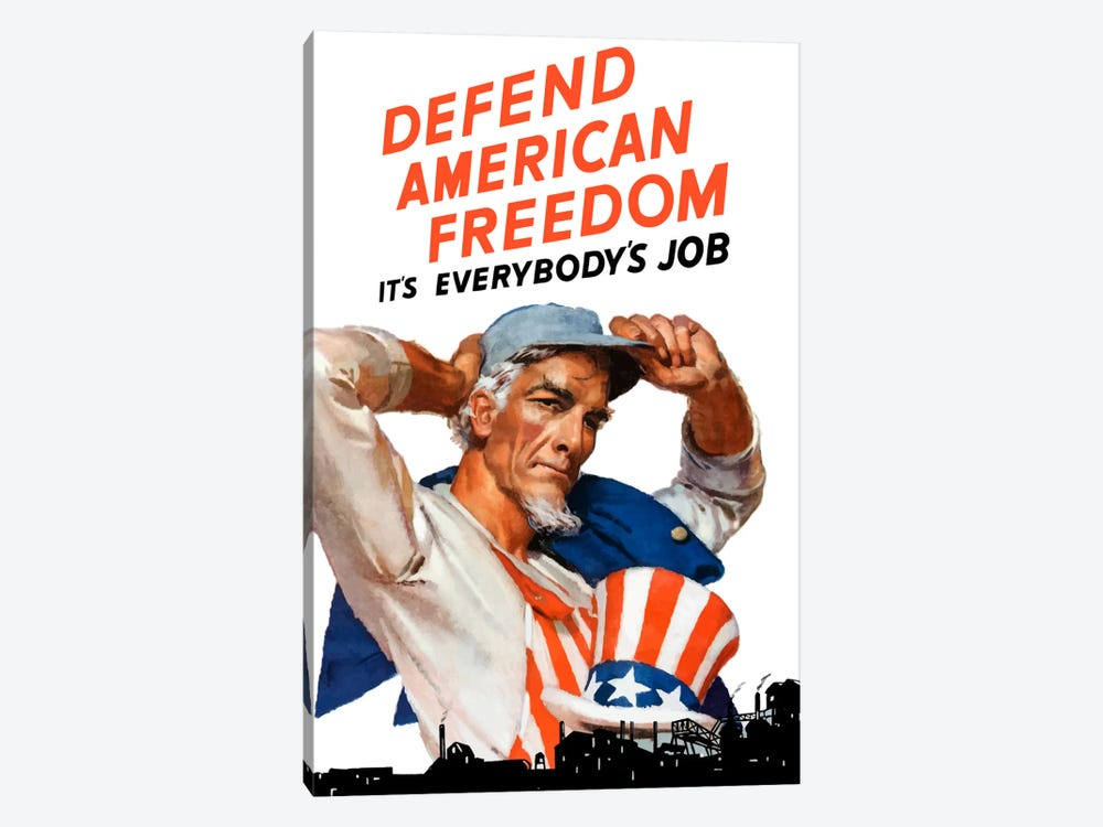 Uncle Sam - Defend American Freedom It's Everybody's Job Vintage Wartime Poster by John Parrot 1-piece Art Print