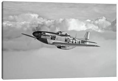 A P-51D Mustang In Flight Near Hollister, California Canvas Art Print