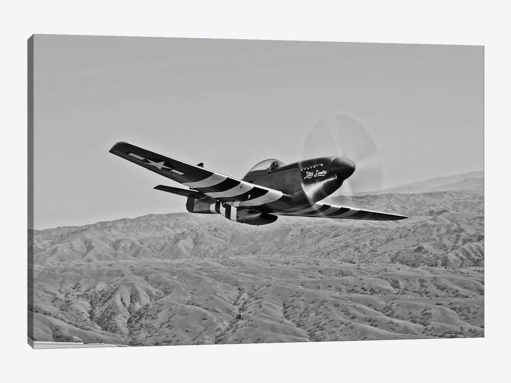 A P-51D Mustang In Flight Over Hollister, California by Scott Germain 1-piece Canvas Artwork