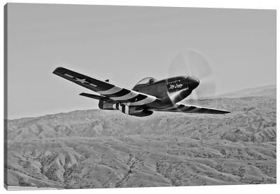 A P-51D Mustang In Flight Over Hollister, California Canvas Art Print
