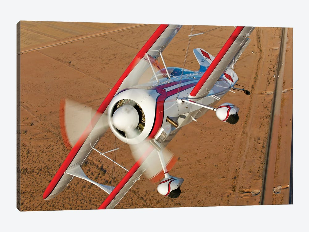 A Pitts Model 12 Biplane In Flight 1-piece Canvas Art Print