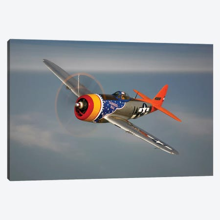 A Republic P-47D Thunderbolt In Flight Canvas Print #TRK496} by Scott Germain Art Print