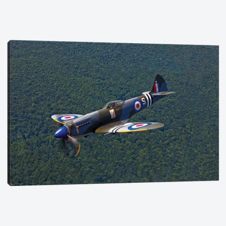 A Supermarine Spitfire Mk-18 In Flight Canvas Print #TRK498} by Scott Germain Canvas Artwork