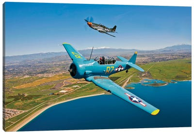A T-6 Texan And P-51D Mustang In Flight Over Chino, California Canvas Art Print