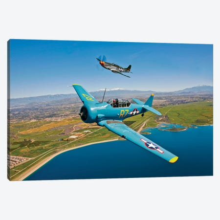 A T-6 Texan And P-51D Mustang In Flight Over Chino, California Canvas Print #TRK499} by Scott Germain Canvas Art