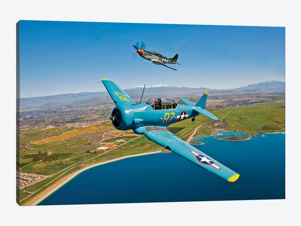 A T-6 Texan And P-51D Mustang In Flight Over Chino, California by Scott Germain 1-piece Canvas Wall Art