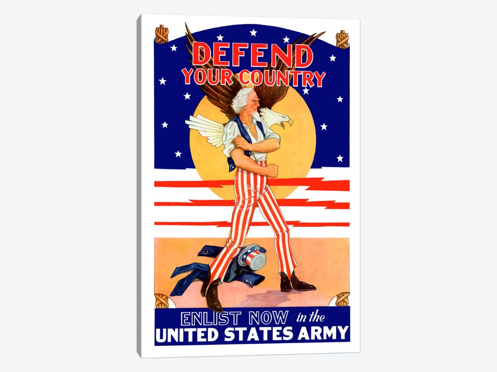Uncle Sam - Enlist Now In The United States Army Vintage Wartime Poster by John Parrot 1-piece Canvas Art