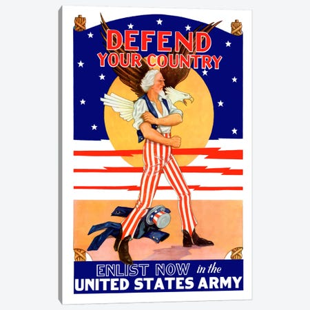 Uncle Sam - Enlist Now In The United States Army Vintage Wartime Poster Canvas Print #TRK49} by John Parrot Canvas Artwork