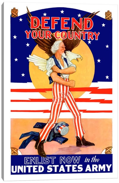 Uncle Sam - Enlist Now In The United States Army Vintage Wartime Poster Canvas Art Print