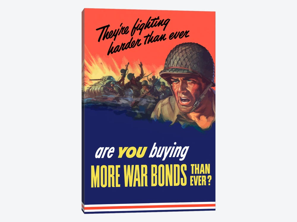 Are You Buying More War Bonds Than Ever? Wartime Poster by John Parrot 1-piece Canvas Artwork
