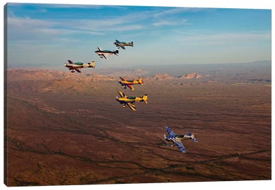 Extra 300 Aerobatic Aircraft Fly In Formation Over Mesa, Arizona I Canvas Art Print