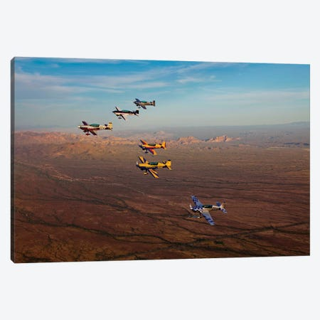 Extra 300 Aerobatic Aircraft Fly In Formation Over Mesa, Arizona I Canvas Print #TRK500} by Scott Germain Canvas Wall Art