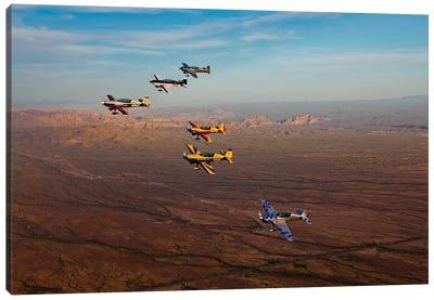 Extra 300 Aerobatic Aircraft Fly In Formation Over Mesa, Arizona I Canvas Art Print