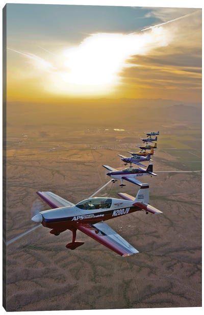 Extra 300 Aerobatic Aircraft Fly In Formation Over Mesa, Arizona II Canvas Art Print