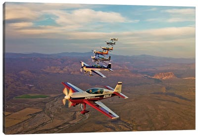 Extra 300 Aerobatic Aircraft Fly In Formation Over Mesa, Arizona III Canvas Art Print